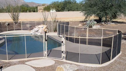 Tan Brown Pool Fence