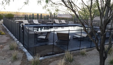 Backyard Swimming Pool and safety fence
