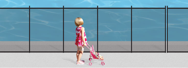 Mesh Pool Fence Child Near Safety