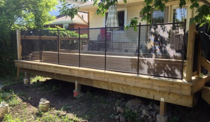 3.5ft Pool Fence in a wood deck above ground pool Guelph
