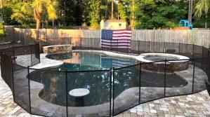 Curvy Black Pool Fence around Pool & Spa