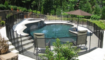 Swimming Pool and Spa with Pool Fence