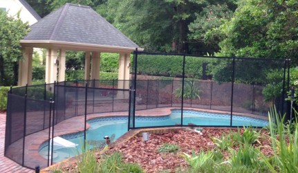 Black Ocala Pool Fence Slope